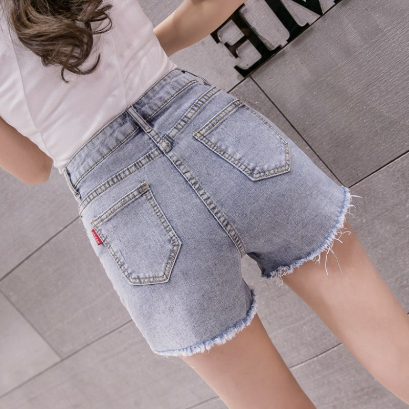 Denim shorts womens summer 2020 new fashion Korean high waists show thin holes elastic tight A-line hot pants ins