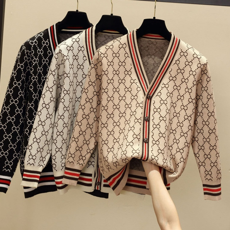 Spring and autumn 2020 new loose V-neck rhombic cardigan womens cardigan winter coat with wool