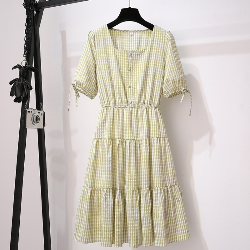 Plaid Dress female summer 2020 new temperament small fairy dress small fragrance summer show thin first love skirt