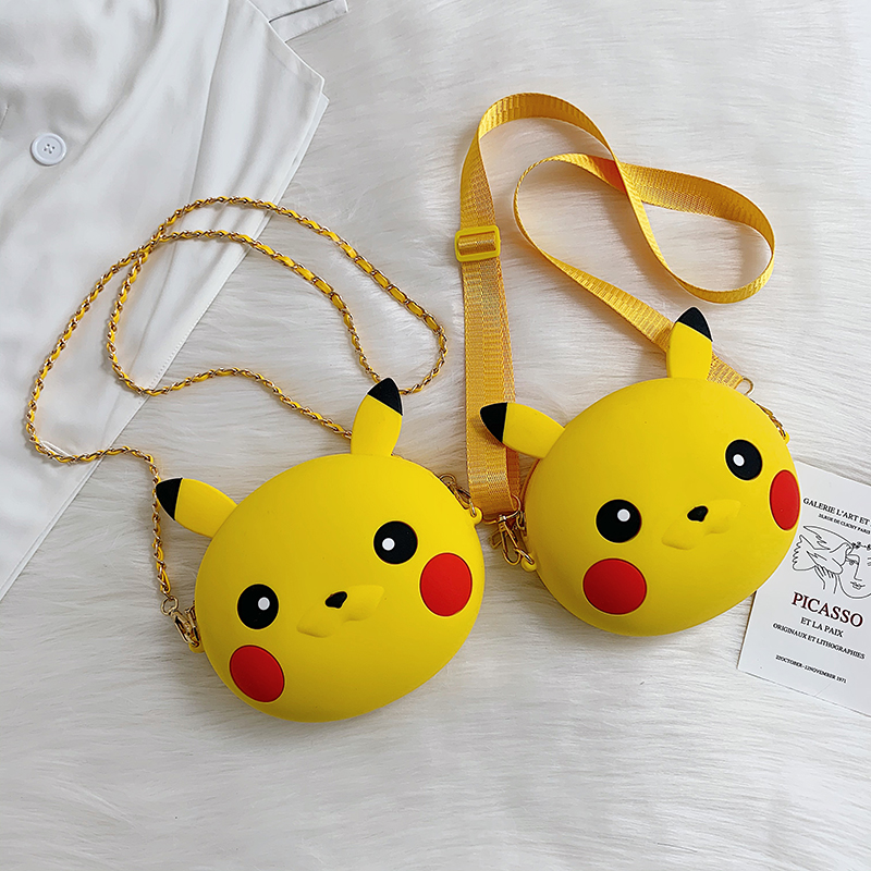 Pikachu brown bear fruit silicone zero wallet cute cartoon creative messenger bag student foreign style key bag