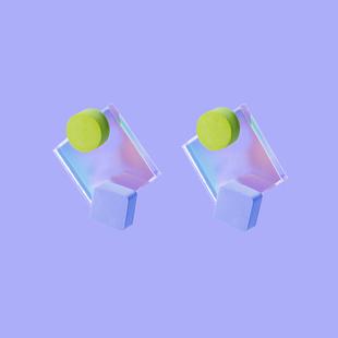 元術樂之ysoo流光亞克力系列簡約方形設計師款炫彩耳環耳飾耳墜