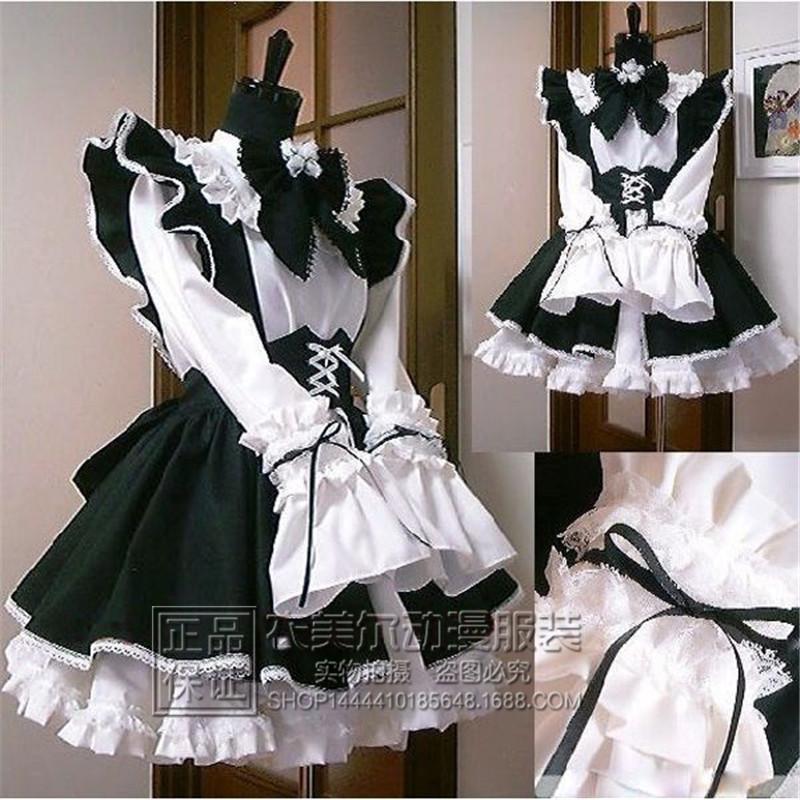 女仆 餐厅咖啡厅工作服长裙黑白女佣装cosplay男生女生尺寸