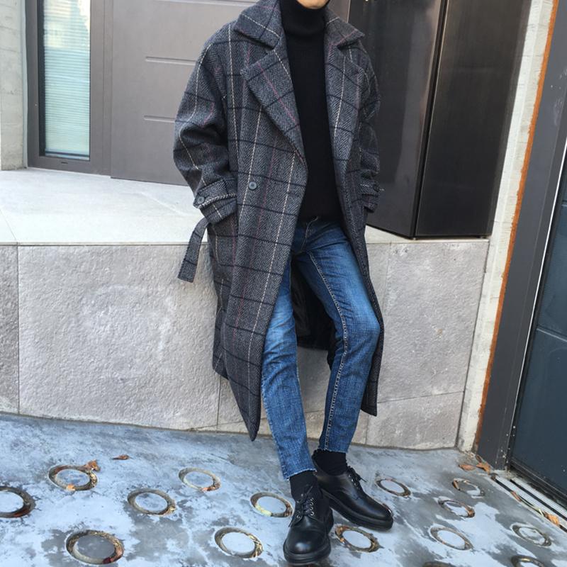 2020 Korean autumn and winter mid length cashmere coat slim fitting mens Wool Plaid coat windbreaker business casual coat