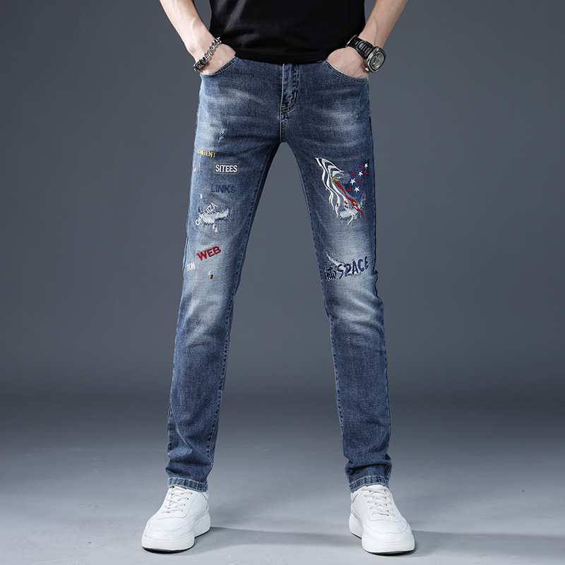 Europe station mens spring and autumn high end jeans mens fashion brand slim print hole embroidery casual leg pants