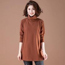 长袖t恤女秋冬加肥加大码女装宽松中长款遮肚纯色中年高领打底衫