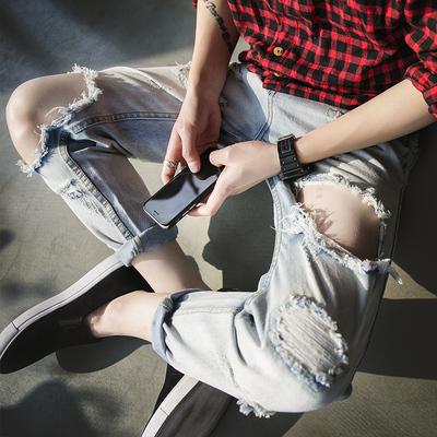 原创设计师款九分裤 时尚破洞设计 有灵魂的品质牛仔裤C136/P85