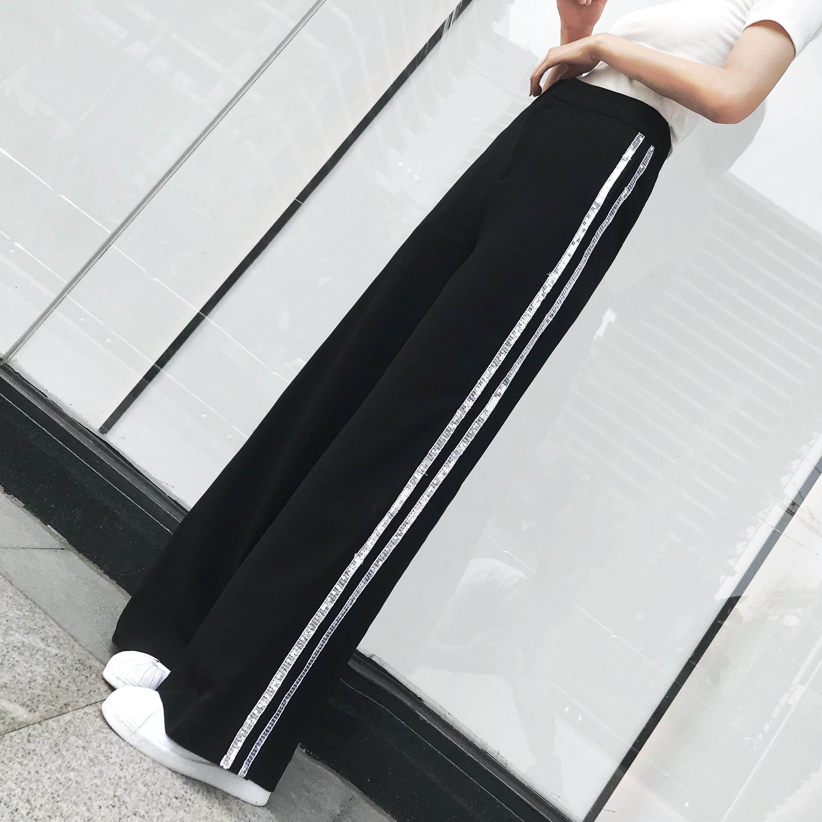 阔腿裤女长裤夏季新款侧边亮片条纹高腰显瘦雪纺运动直筒裤休闲裤