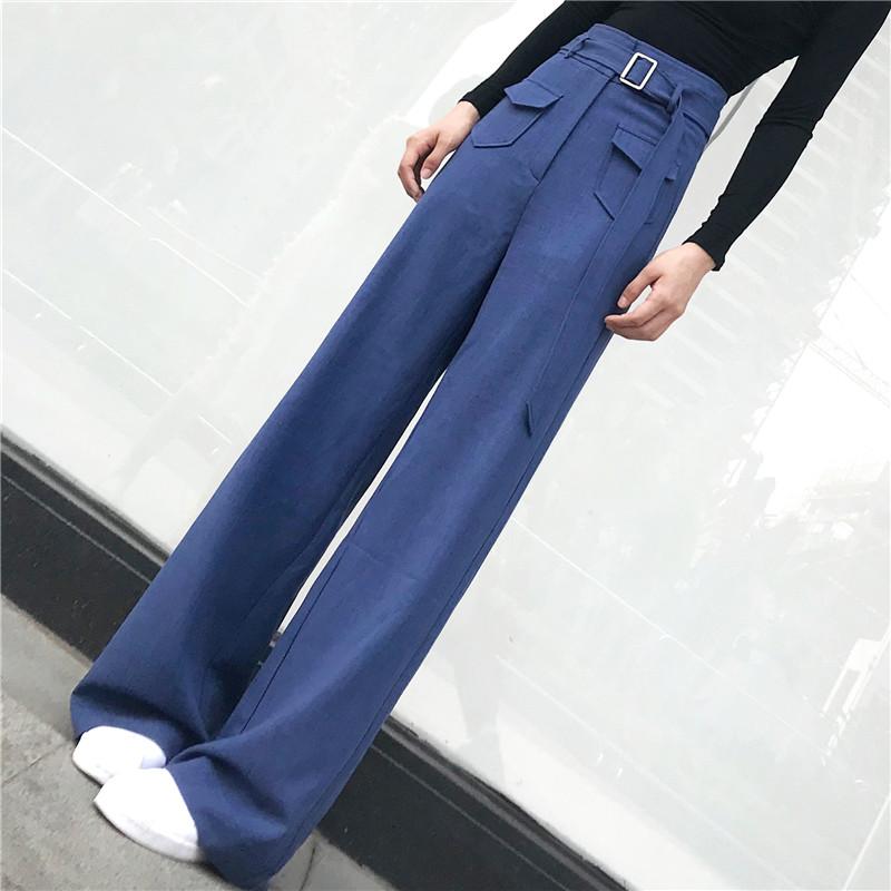 亚麻麻料女装韩版垂感宽松裤子女休闲裤阔腿裤直筒裤长裤夏季薄款