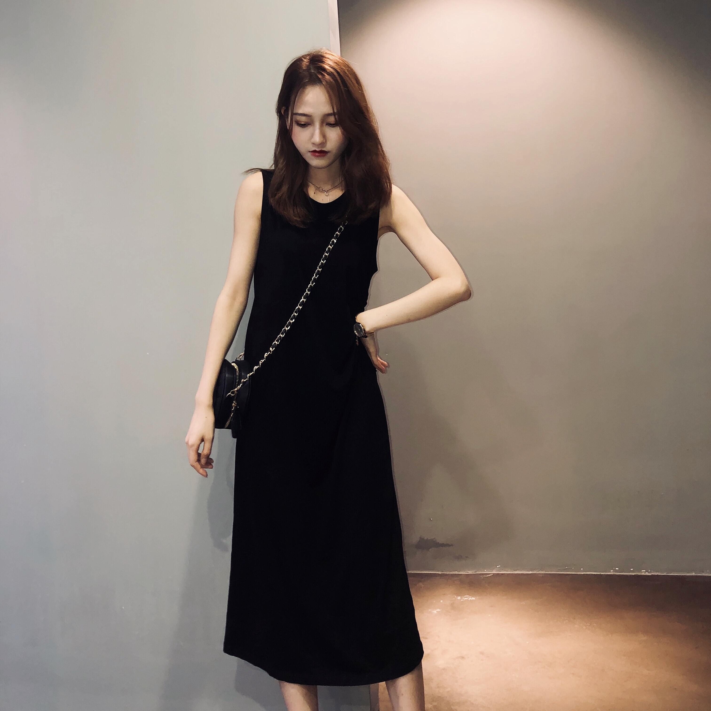 【特价】厌世丧系裙子夏季长裙女性感收腰黑色连衣裙冷淡风裙子
