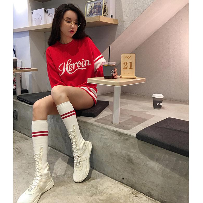 夏天靴子女长靴钢管舞 夏季靴子女2018新款穿的百搭时尚韩版 高筒