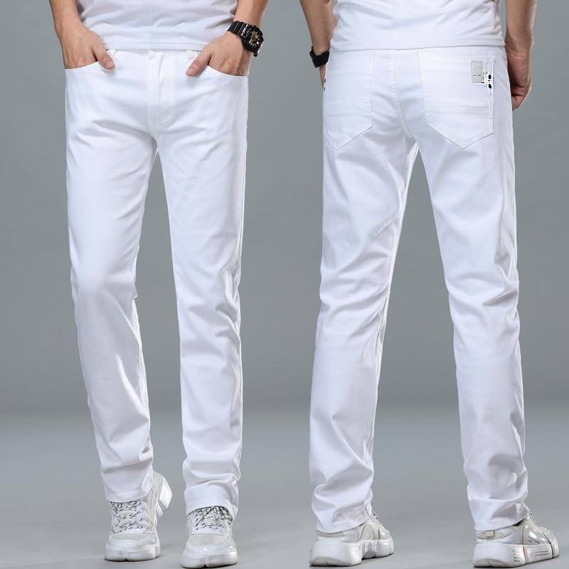 春季白色牛仔褲男士高端彈力修身直筒寬松米白色潮牌休閑長褲子