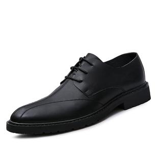 冬季休閒皮鞋男士韓版青年軟面真皮加絨潮流商務正裝尖頭英倫百搭