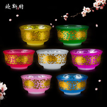 Glass water supply bowl colorful Lotus Water purification cup exquisite gold decal holy water Bowl Supply Cup for Buddha Cup