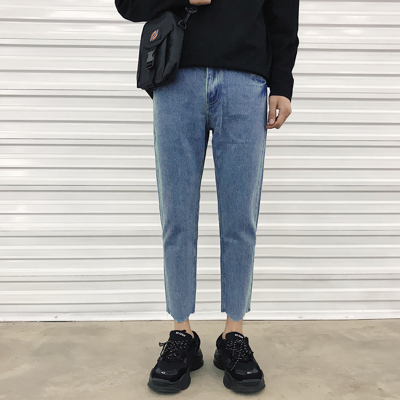 春季基础简约款修身韩版牛仔裤男 时尚九分裤小脚裤 S516-P65控78