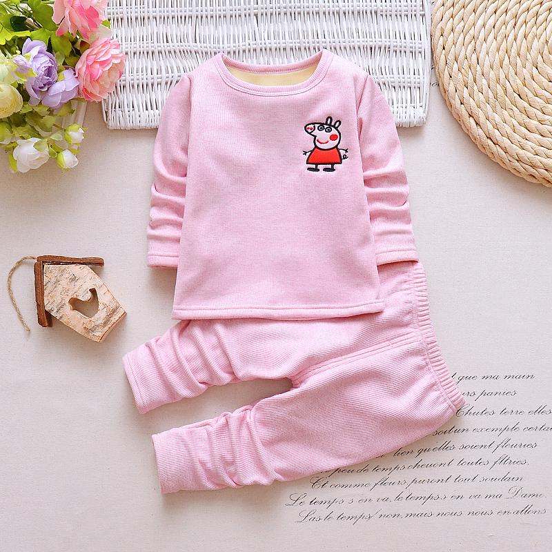 秋冬款女宝宝保暖内衣套装0加绒加厚1婴儿幼儿男儿童秋衣秋裤3岁