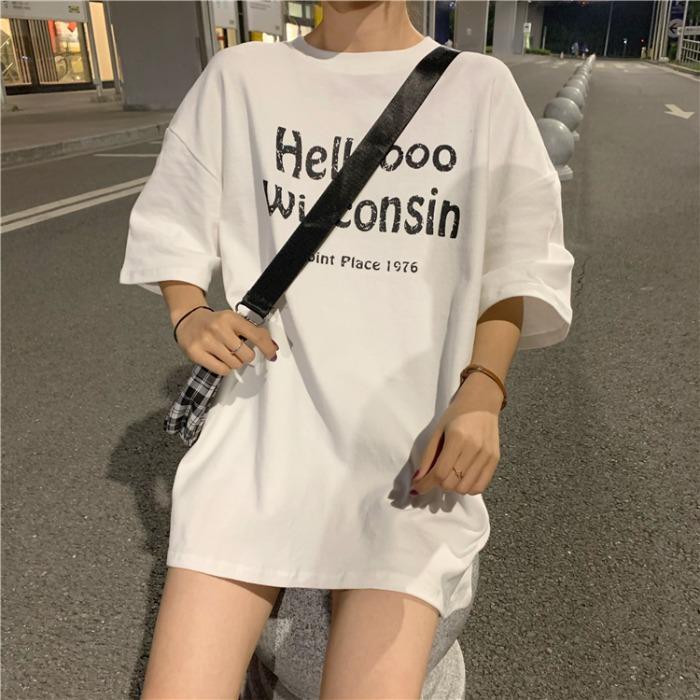 官方图宽松中长款下衣失踪字母印花短袖T恤女学生cec大码女装胖mm