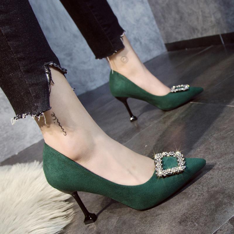 红色女2020新款8cm水钻绿色高跟鞋