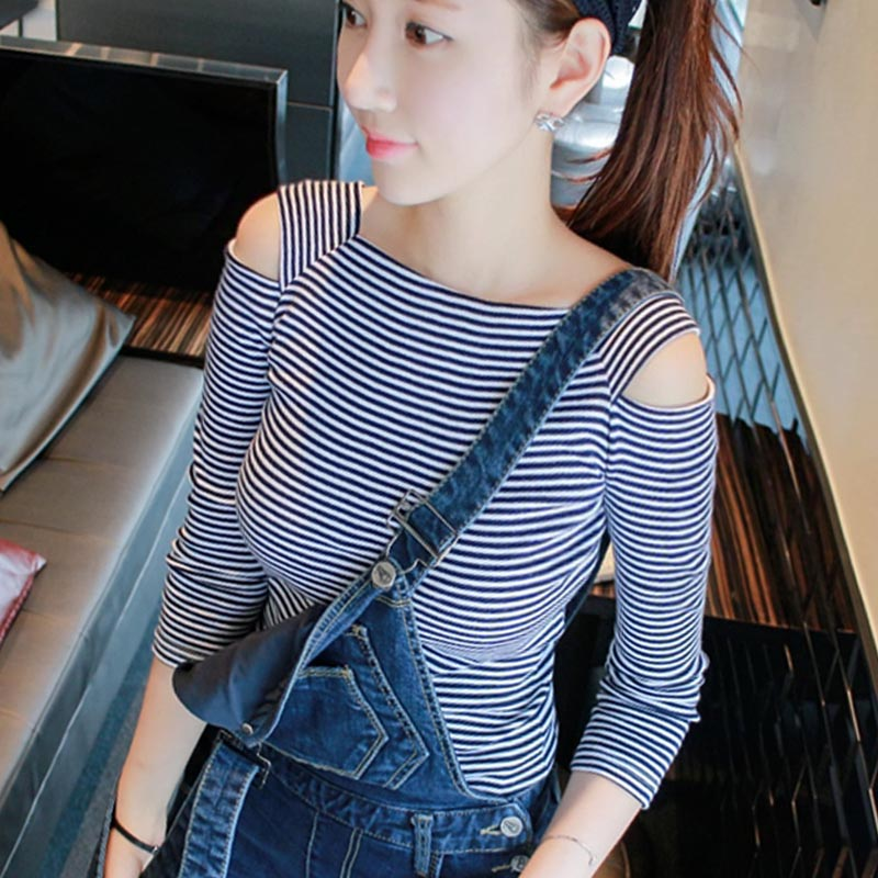 Striped off shoulder T-shirt womens spring and autumn 7 / 3 sleeve slim fit with cotton backing shirt small sexy tight middle sleeve top
