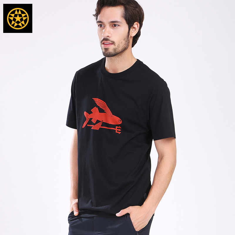Taiwan naisikewei free flying fish cotton round neck T-shirt outdoor Casual Short Sleeve lovers trend T-shirt