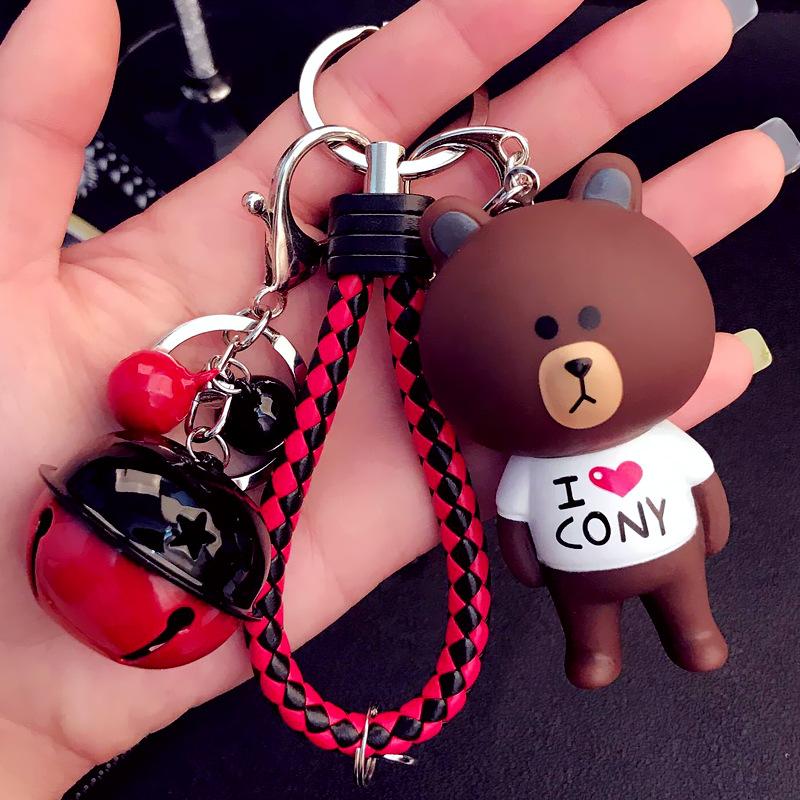 Вязанные ключ цепь мужской созидательный женский стиль Медвежонок ключ с застежкой пакет пакет Подвесные автомобильные принадлежности