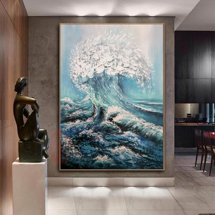 海浪油画轻奢北欧新中式风景新款立体装饰画手绘玄关客厅卧室挂画