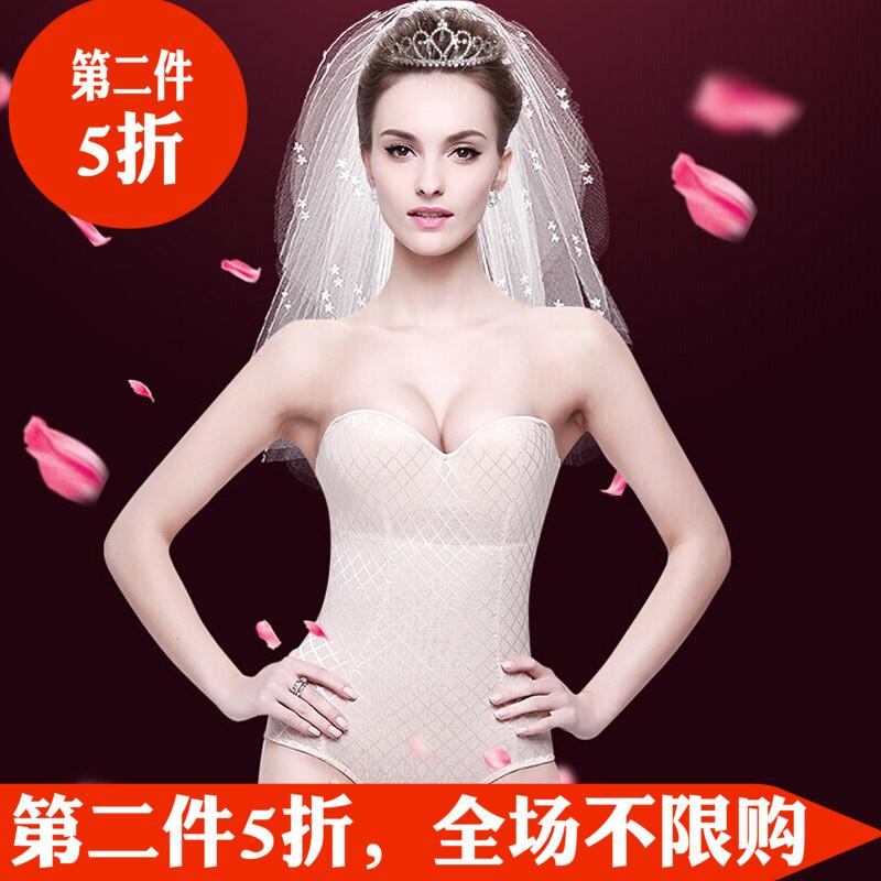 婚纱塑身衣无肩带新娘束身抹胸隐形防滑礼服拍婚纱照内衣聚拢塑形