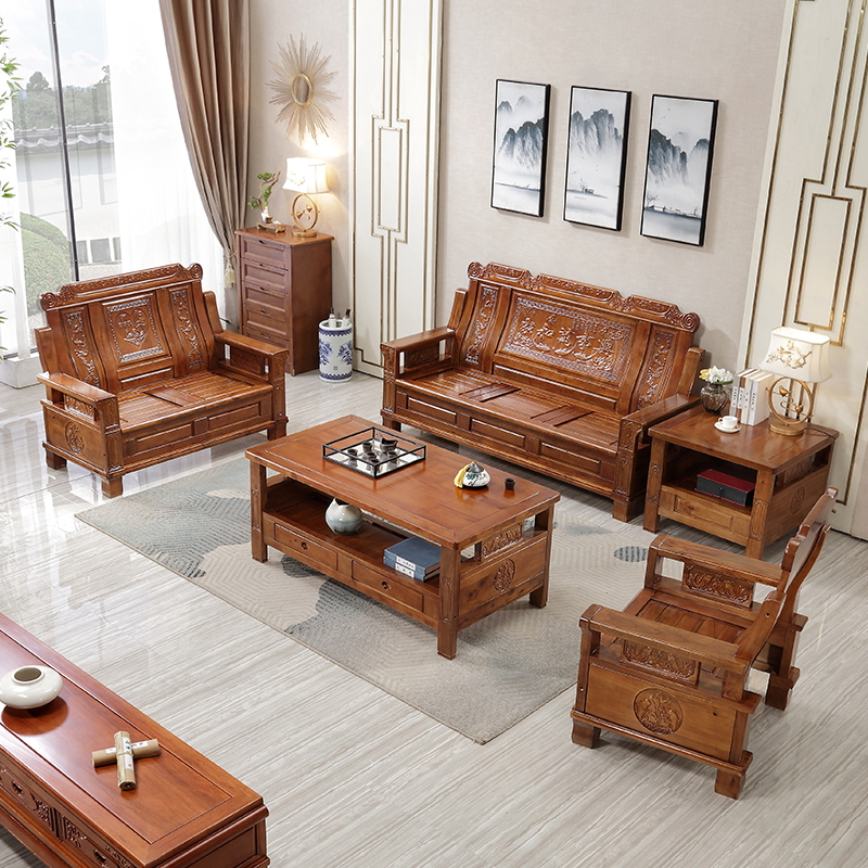 Solid wood sofa full solid wood camphor wood combination living room rural wood modern Chinese style antique sofa mahogany furniture