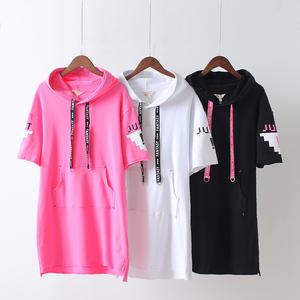 春夏新款韩版宽松字母短袖连帽中长款套头薄款显瘦卫衣女棉T恤潮