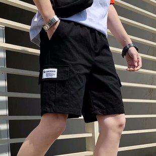 夏季褲子男生ins潮牌寬鬆運動休閒五分褲潮流百搭余文樂工裝短褲