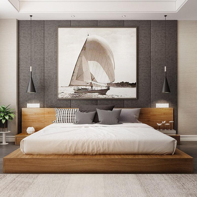 2098.00元包邮1.5m日式榻榻米落地矮床 北欧1.8米主卧双人床踏踏米地台板式低床