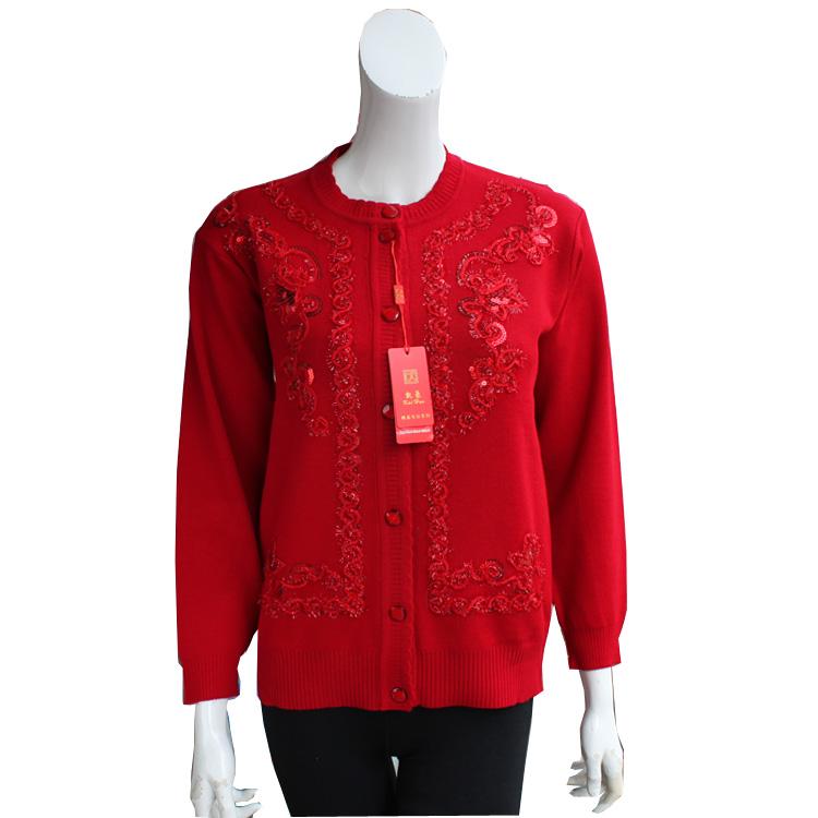 年底大促销 中老年女装毛衣外套 中年春秋装盘花妈妈装女士开衫