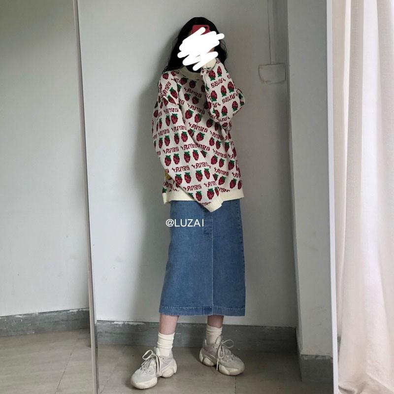 Luzai/冬天配毛衣的牛仔半身裙高腰百搭显瘦中长款包臀裙开叉长裙图片