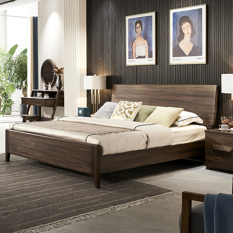 Wood wax oil German black walnut all solid wood bed 1.8m 1.5 large back modern minimalist new Chinese double bed