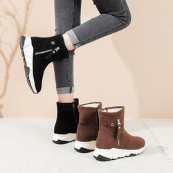 户外平底雪地靴女2020新款加绒加厚棉鞋东北厚底学生百搭冬季靴子