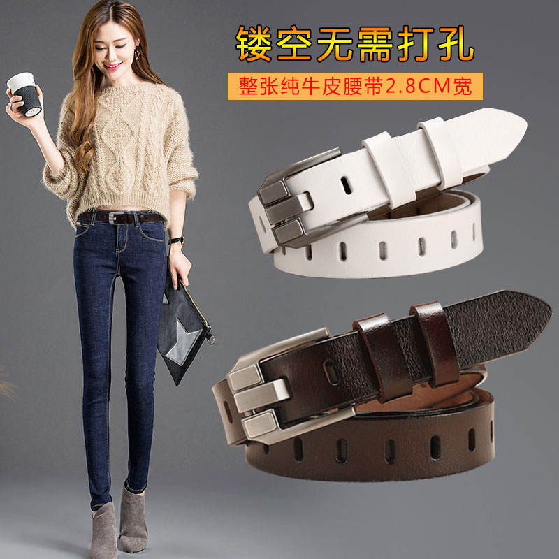 Leather belt female leather pin buckle pure leather casual versatile Korean fashion womens belt student jeans with girls