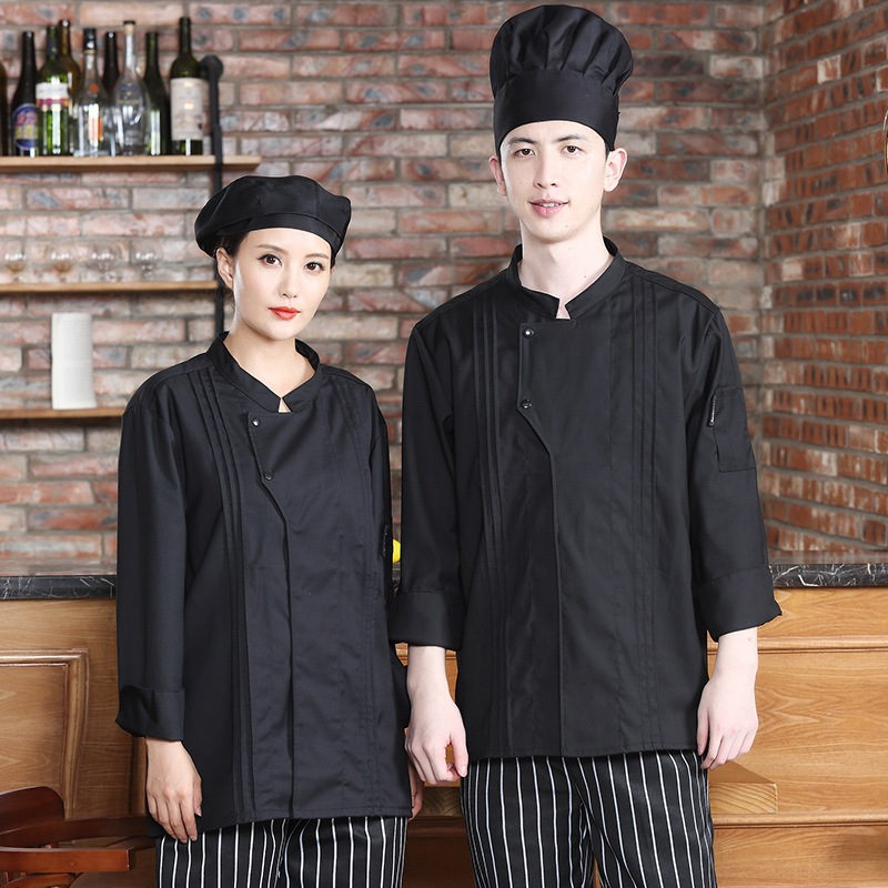 Hotel chefs clothes long sleeve canteen back chef cooking masters work clothes Bakers uniform cake clothes decorators clothes