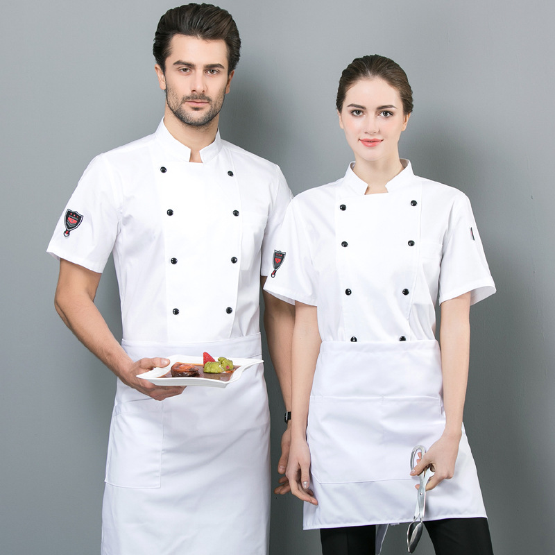 Hotel Catering chefs work clothes summer short sleeved Bakers uniform custom printed cake clothes and florists work clothes