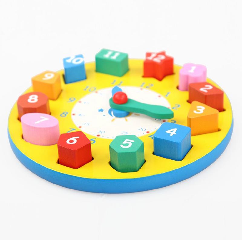 智力數字形狀木質拚圖時鍾寶寶早教木製兒童益智積木玩具1-2-3歲
