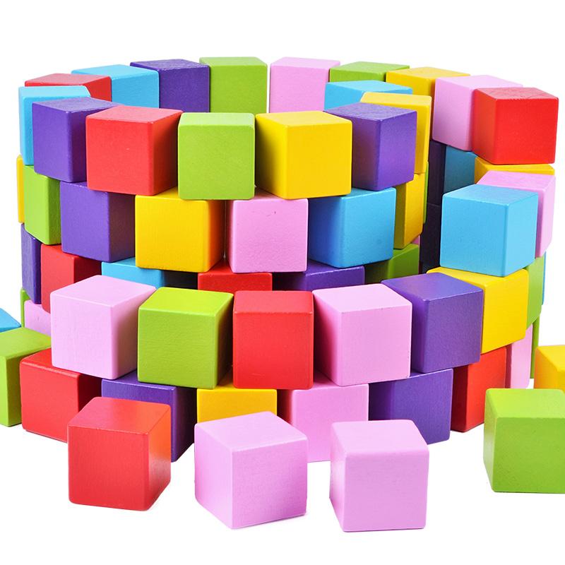 100粒大塊木製正方體立方體積木 數學教具兒童益智方塊玩具幼兒園