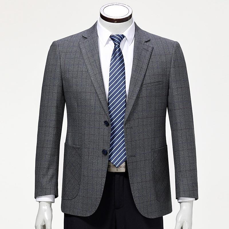 记忆秋冬单西装中年男士厚款正装西服商务羊毛外套装一粒双排扣