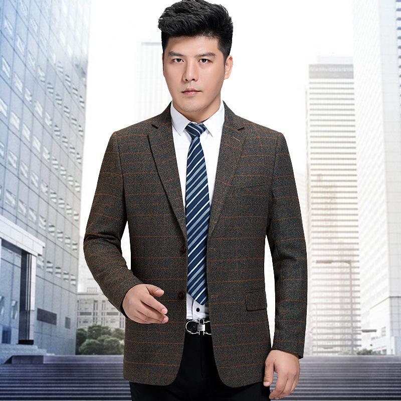 秋冬男士休闲西服中年商务小西装条纹单西外套厚长袖一粒双排扣