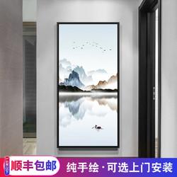 新中式玄关装饰画走廊过道挂画现代手绘油画抽象山水风景油画壁画