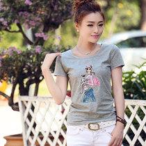 夏季中年女装加肥加大码纯棉短袖t恤印花胖mm高档显瘦灰色断码