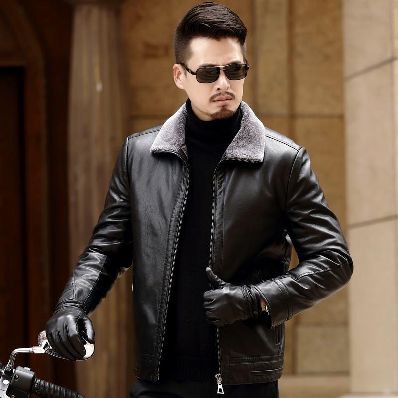 Haining winter new lapel, plush and thickened leather coat, mens Korean slim leather jacket, leather and fur one-piece coat