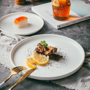 北欧陶瓷创意网红西式白色西餐盘