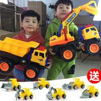 超大号挖掘机玩具工程车套装儿童滑行玩具车挖土机翻斗车汽车模型