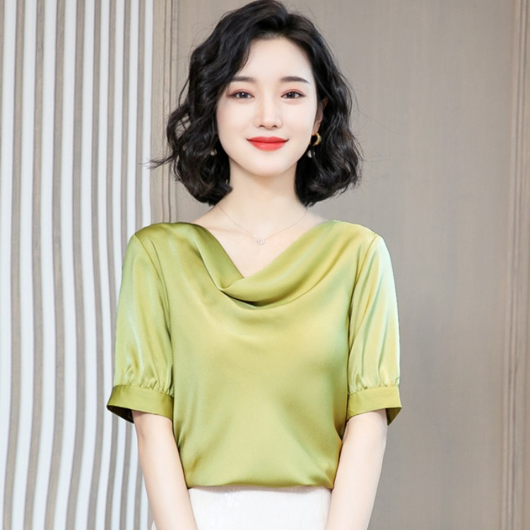 One line dangling collar Silk Satin Chiffon shirt womens short sleeve 2020 summer new Pullover solid color shirt ol top
