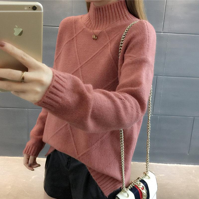 2018秋冬新款针织衫毛衣女装韩版宽松纯色半高领打底衫套头上衣潮