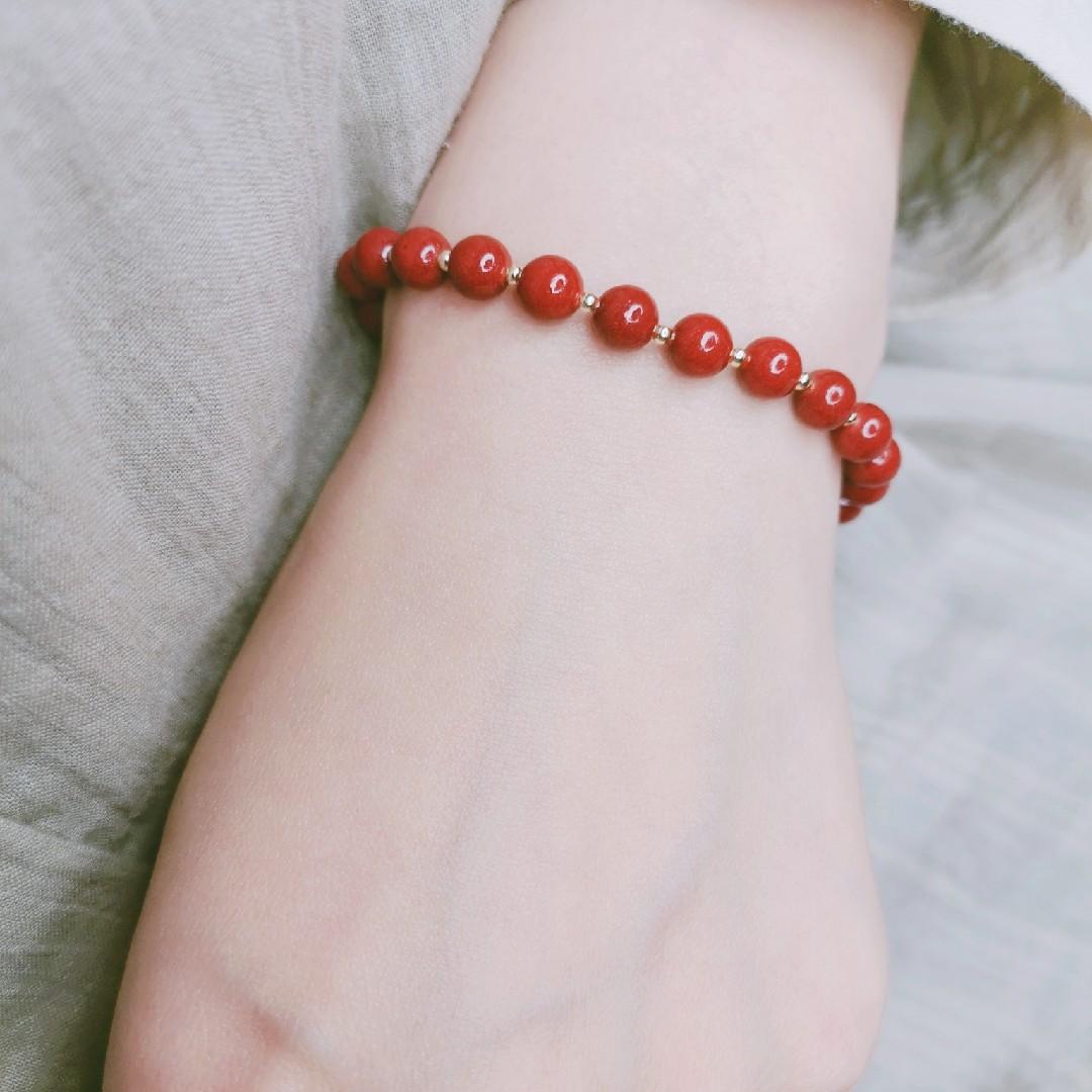 Red cinnabar pearl tourmaline red garnet Malachite natural gem hand String Bracelet girl 14K