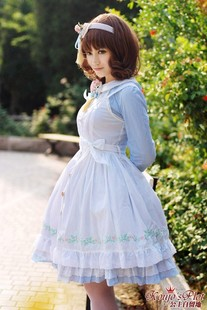 Spot LOLITA dress embroidered cotton dress suit blue aprons Alice